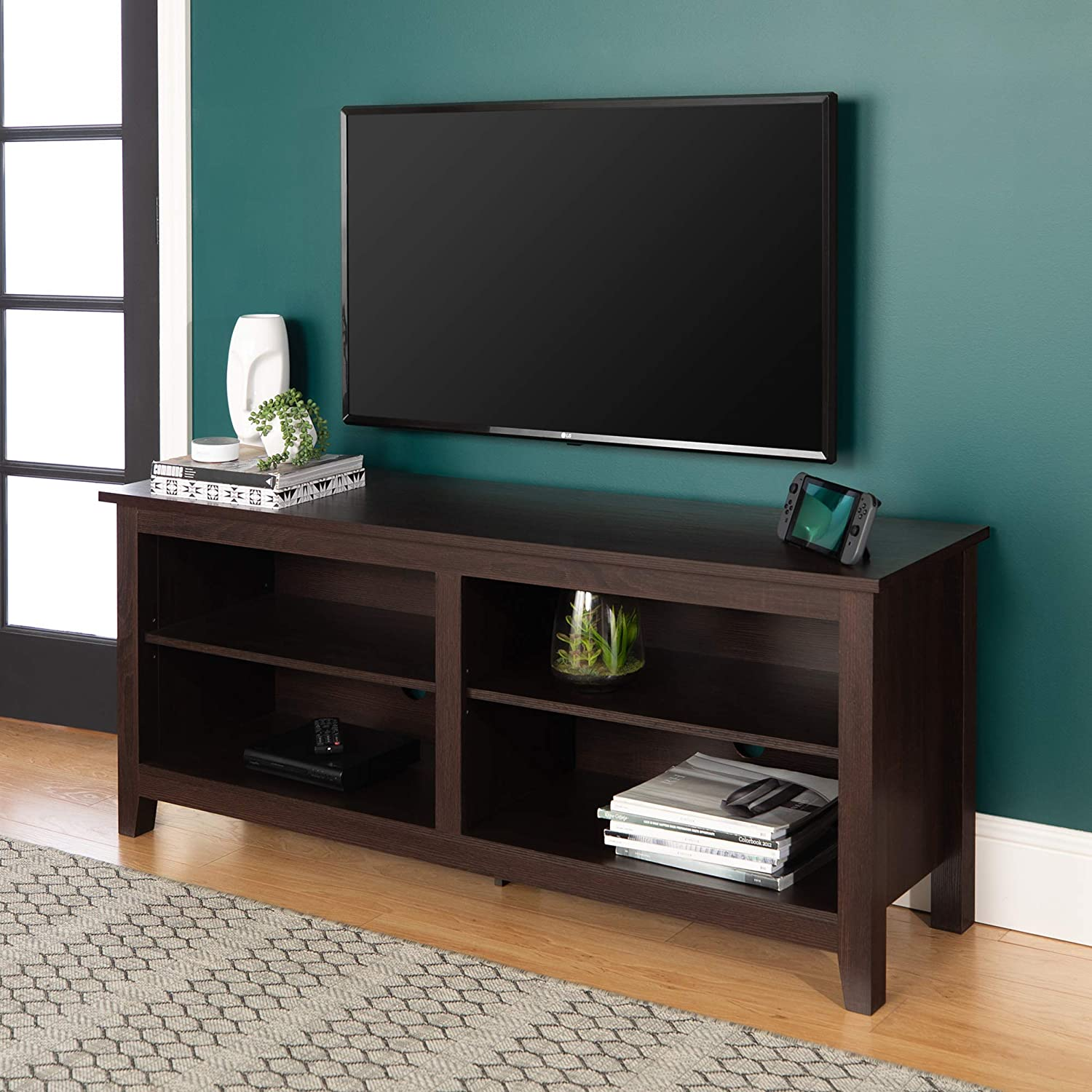 "WE Furniture Minimal Farmhouse Wood Universal Stand for TV's up to 64"" Flat Screen"